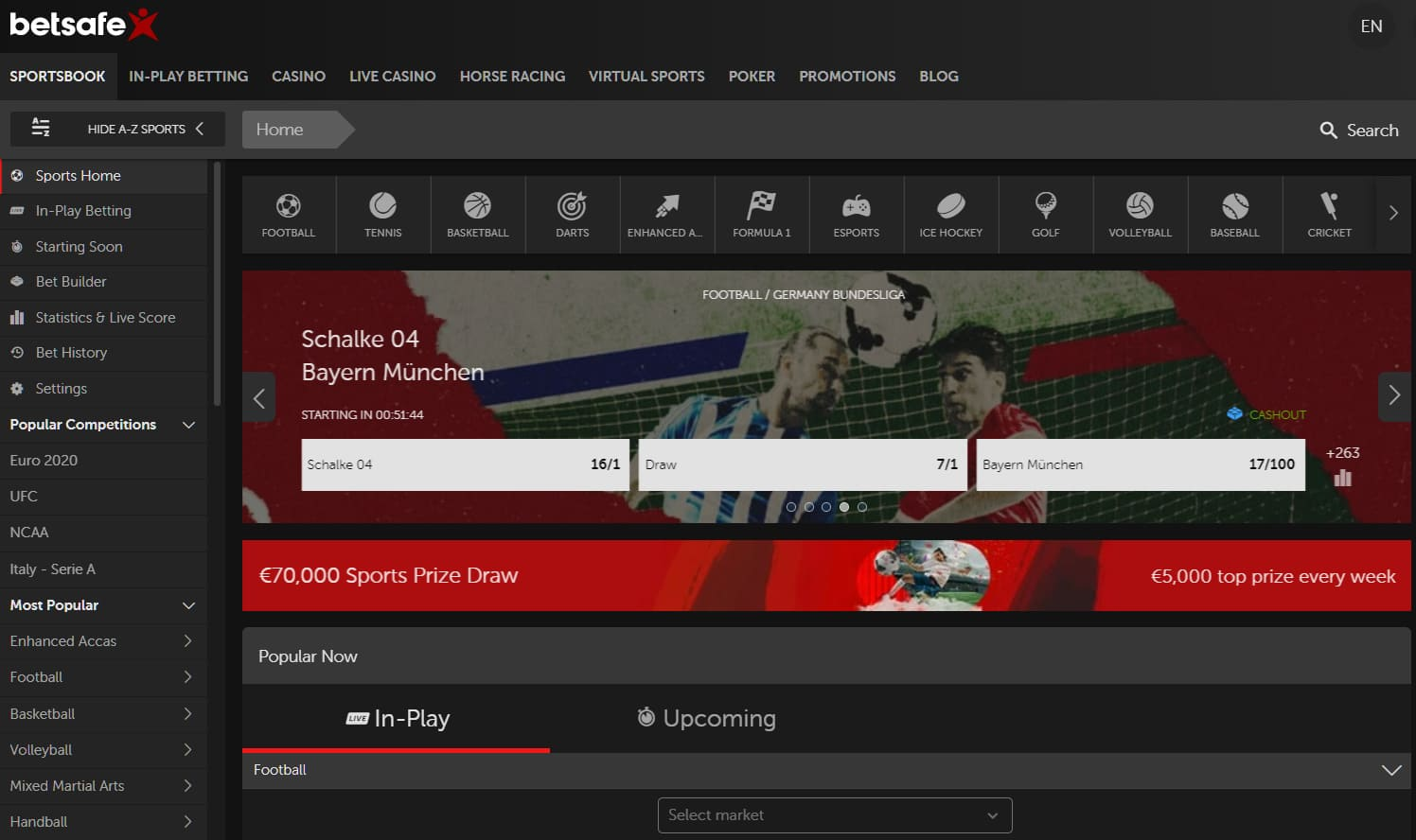 Betsafe's Sportsbook With All Sports Betting Options Live and In-play